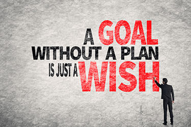 Figuur met de tekst: 'A goal without a plan is just a wish'